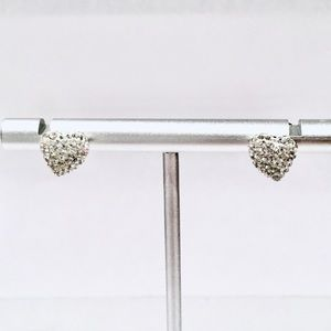 Swarovski Rhodium-plated Pave Heart Earrings